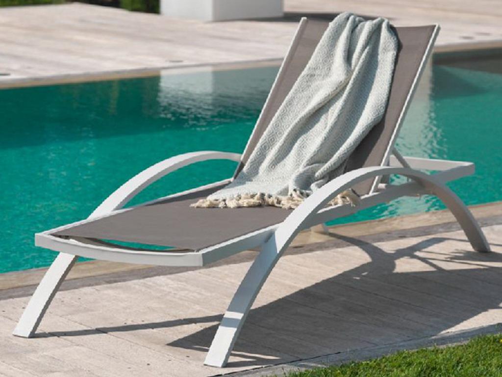 Nouveau Bain de soleil BARCELONA textilène gris et aluminium Blanc sur ZR-56