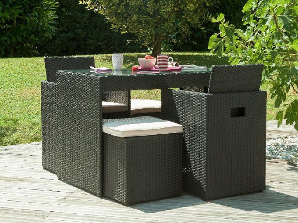 Salon de jardin en résine tressée avec table + 2 fauteuils ...