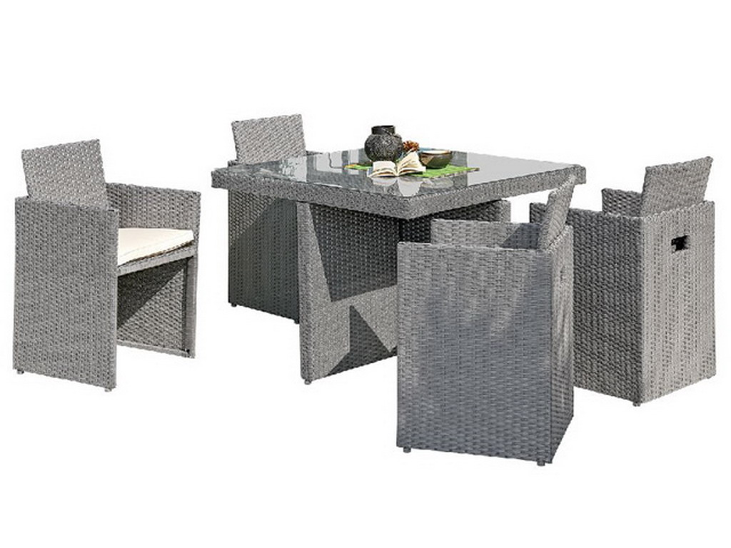salon de jardin en r sine tress e avec table 4 fauteuils gris sur march. Black Bedroom Furniture Sets. Home Design Ideas