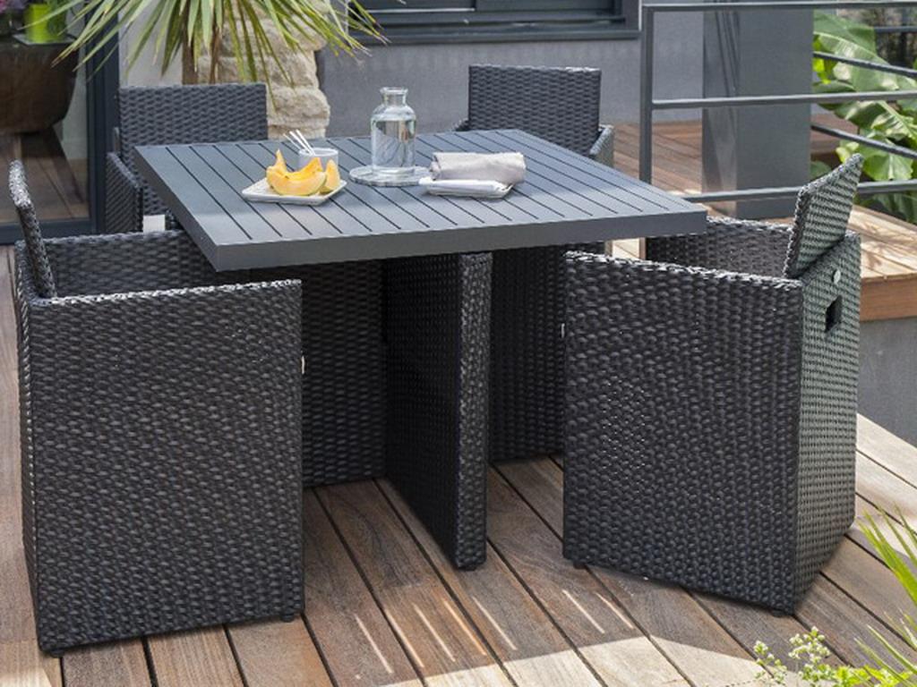 Salon de jardin en résine tressée avec table + 4 fauteuils ...