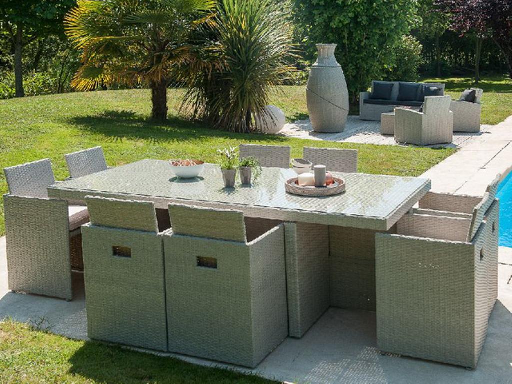 salon de jardin en r sine tress e avec table 8 fauteuils encastrables gris sur. Black Bedroom Furniture Sets. Home Design Ideas