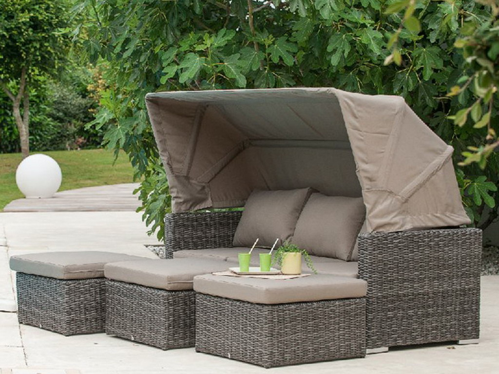 salon de jardin caleche r sine tress e gris canap auvent 3 poufs sur march. Black Bedroom Furniture Sets. Home Design Ideas