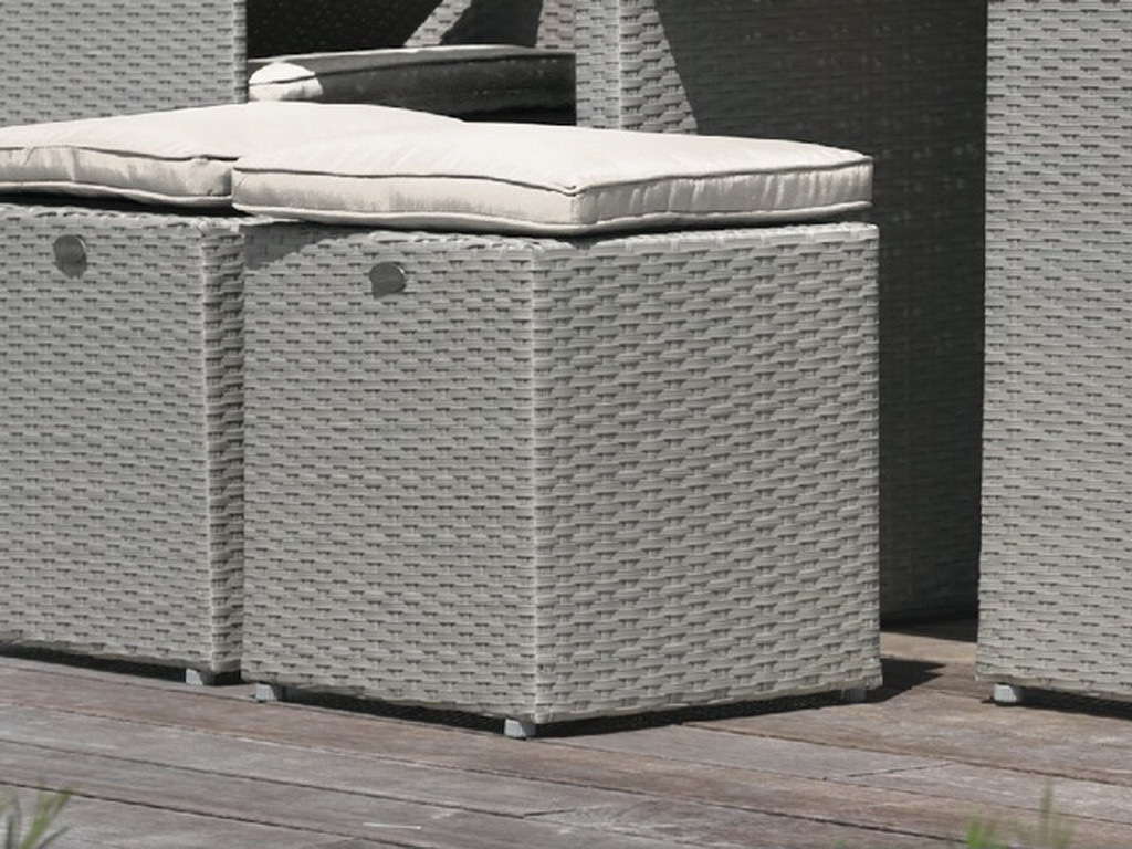 pouf pour salon de jardin encastrable resine tress e gris sur march. Black Bedroom Furniture Sets. Home Design Ideas