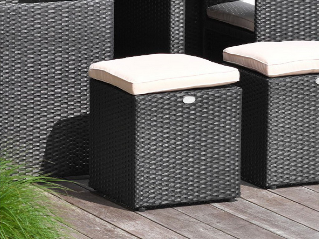pouf pour salon de jardin encastrable resine tress e noir sur march. Black Bedroom Furniture Sets. Home Design Ideas