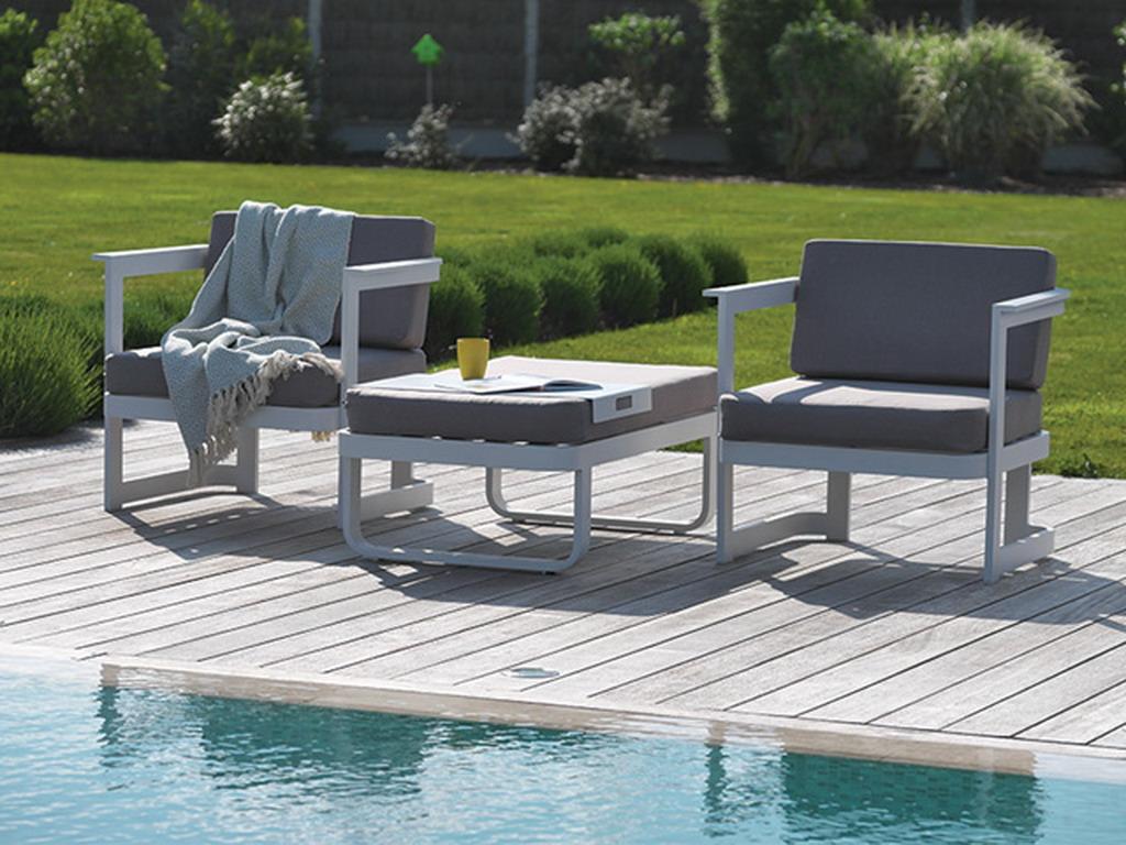 Salon de jardin BARCELONA 2 places aluminium Blanc