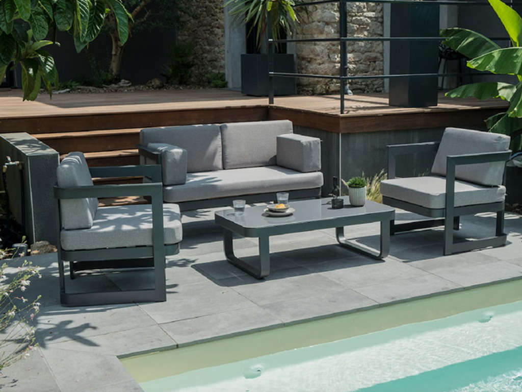 Salon de jardin BARCELONA 4 places aluminium Gris anthracite sur ...
