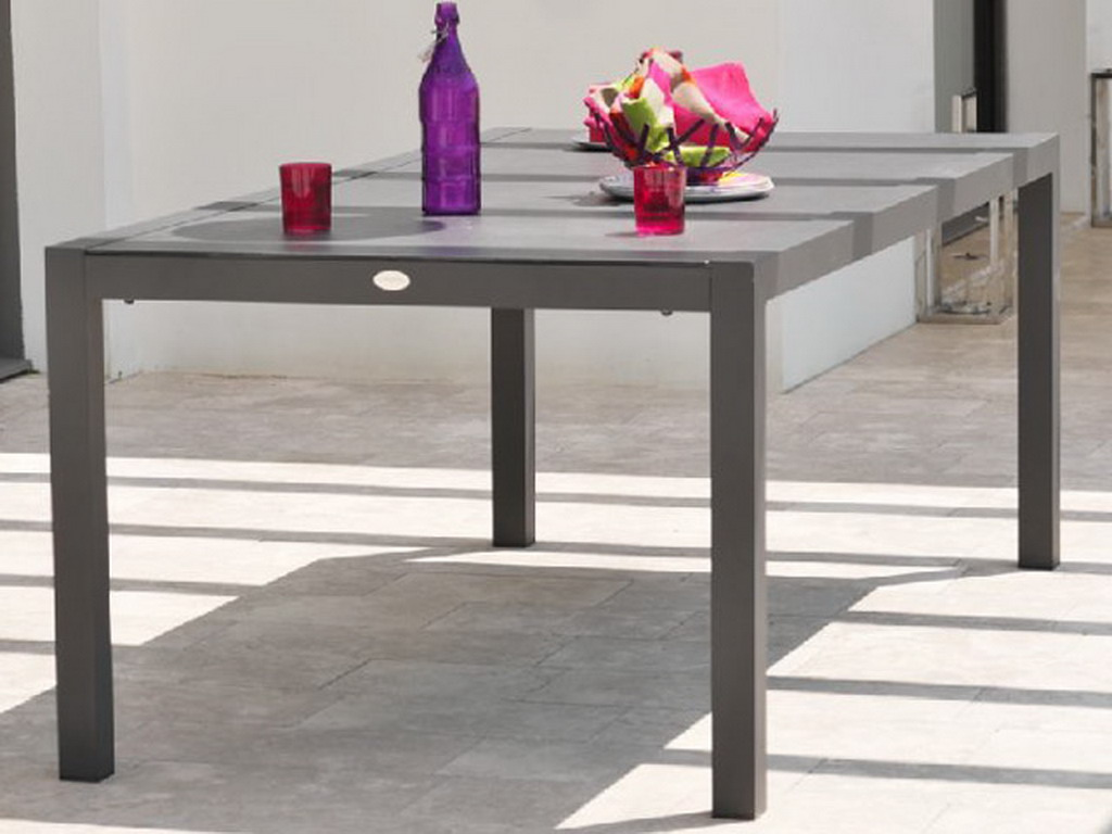 Table de jardin LONDON aluminium plateau verre 200x100x74cm coloris Gris  anthracite