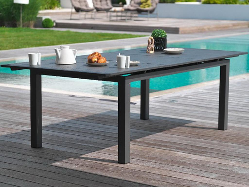 Table de jardin MIAMI aluminium avec rallonge 240/300x100x73cm Gris ...