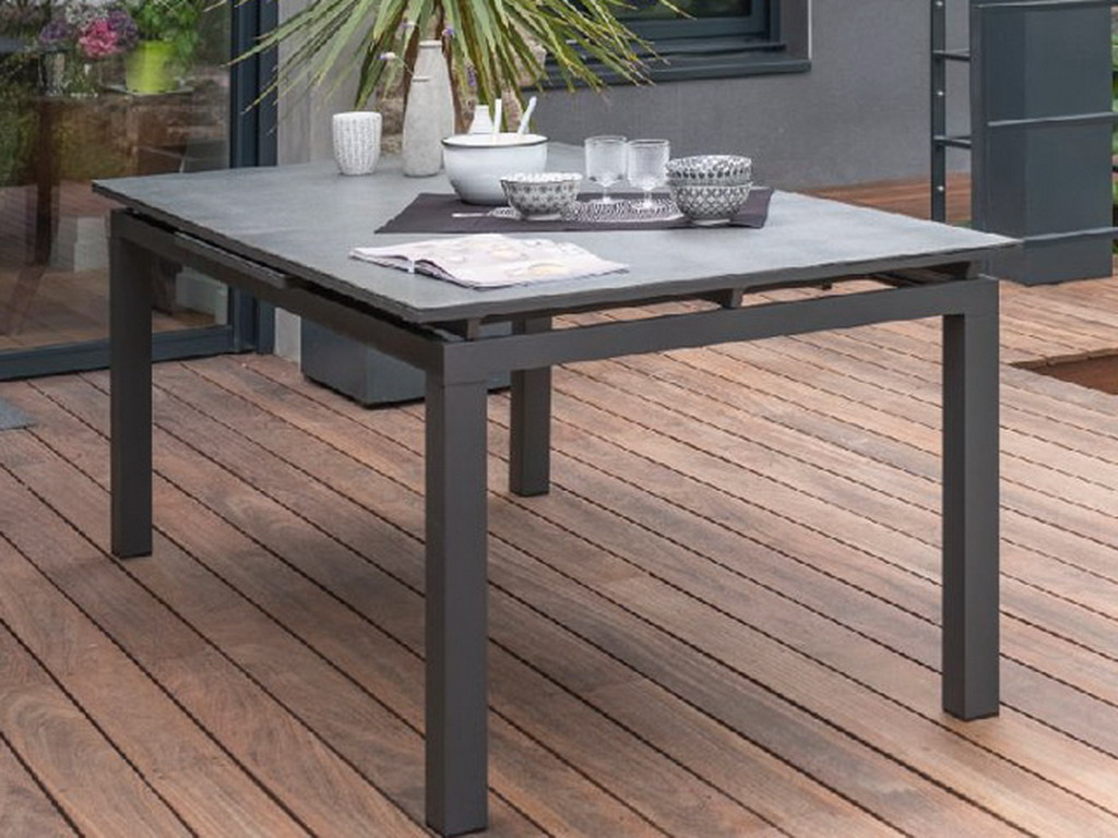 table de jardin miami aluminium plateau verre avec rallonge 180 240x100x77cm gris anthracite sur. Black Bedroom Furniture Sets. Home Design Ideas