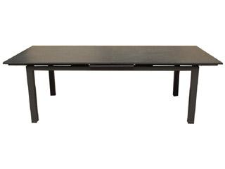 table de jardin miami aluminium plateau verre avec rallonge 240 300x100x77cm gris anthracite sur. Black Bedroom Furniture Sets. Home Design Ideas