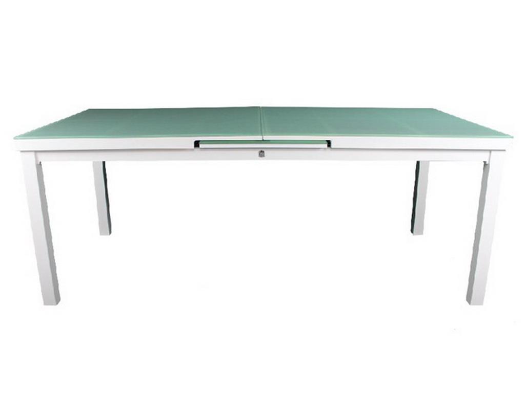 table de jardin mykonos aluminium plateau verre avec rallonge 180 240x100x77cm blanc sur. Black Bedroom Furniture Sets. Home Design Ideas