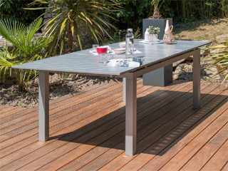 table de jardin orlando aluminium avec rallonge 180 240x100x73cm gris clair sur. Black Bedroom Furniture Sets. Home Design Ideas