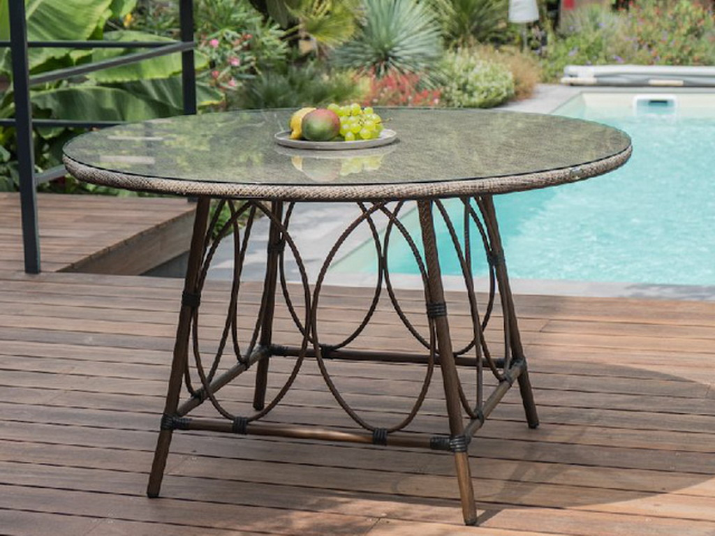 Table ronde de jardin USHUAIA ø125cm aluminium marron plateau verre
