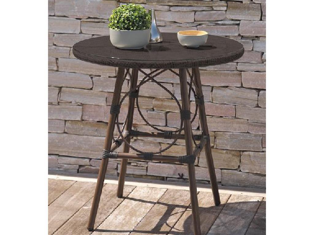 Table ronde de jardin USHUAIA ø70cm aluminium marron plateau verre