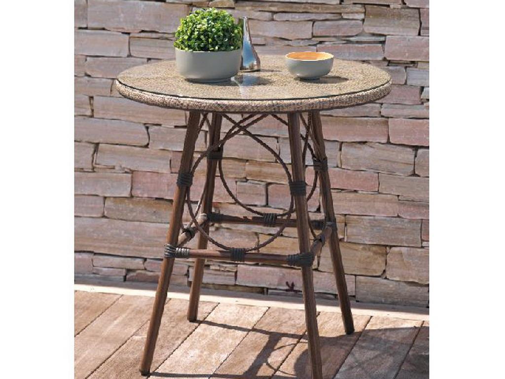 Table ronde de jardin USHUAIA ø70cm aluminium marron plateau verre ...