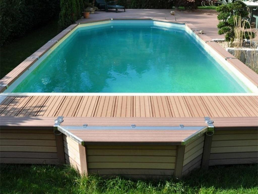 Kit piscine semi enterr e azteck mixte sur - Piscine rectangulaire semi enterree ...