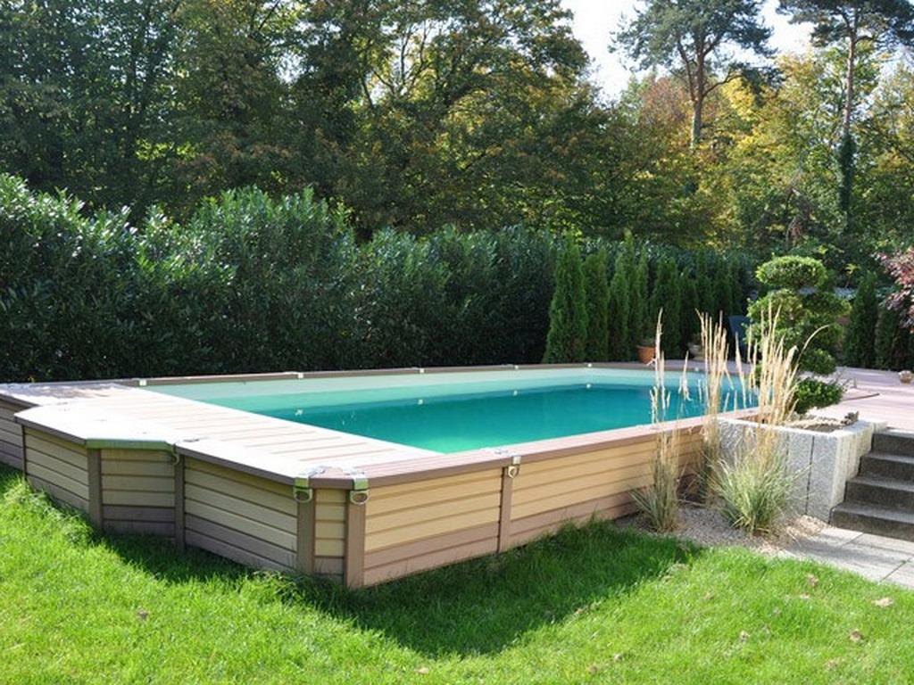 Kit piscine semi enterr e azteck rectangulaire x 6 - Piscine bois composite semi enterree ...