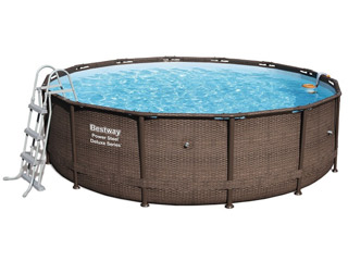 Bestway - Kit piscine Bestway POWER STEEL FRAME POOLS ronde Ø488 x 122cm aspect tresse filtration a cartouche