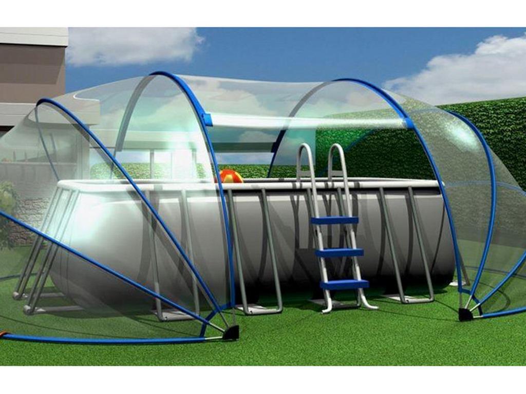 Abri ovale piscine ou spa sunny tent m l6 50xh2 20m sur for Abri de filtration piscine hors sol