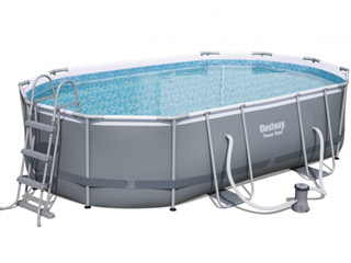 Kit piscine tubulaire Bestway POWER STEEL FRAME POOLS ovale 549x274x122cm filtration cartouche