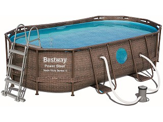 Bestway - Kit piscine Bestway POWER STEEL SWIM VISTA POOL ovale 427x250x100cm aspect tresse avec hublots