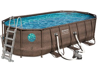 Bestway - Kit piscine Bestway POWER STEEL SWIM VISTA POOL ovale 549x274x122cm aspect tresse avec hublots