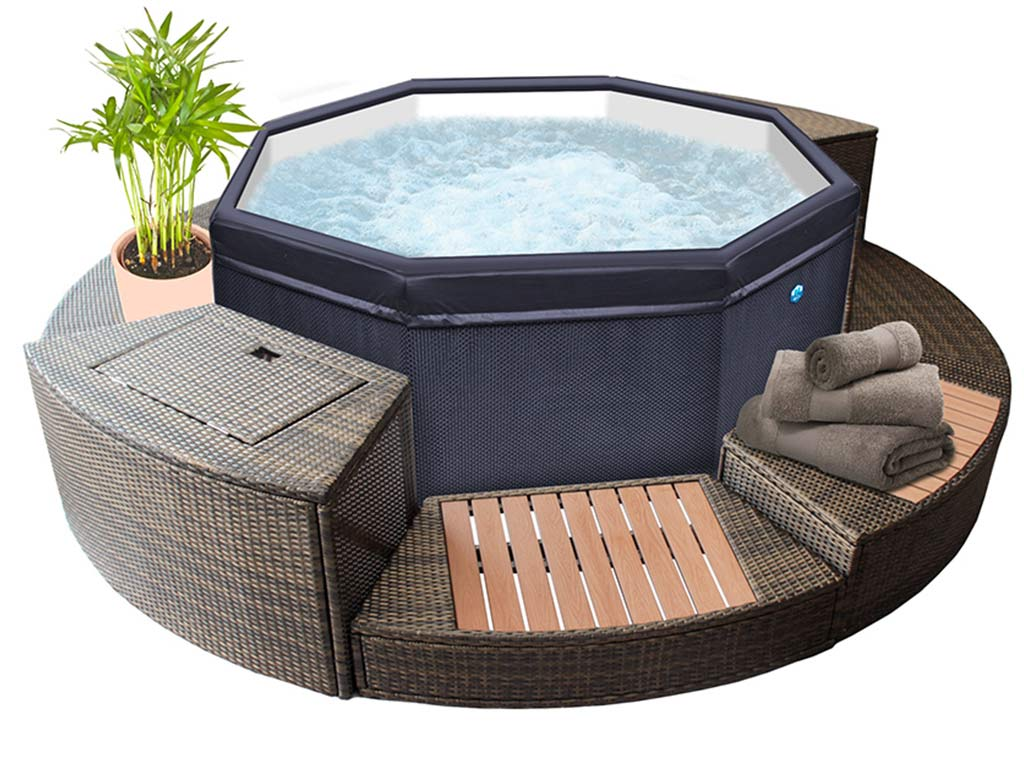 Amenagement Spa Gonflable Interieur spa netspa octopus 6 places aspect tressé avec mobilier