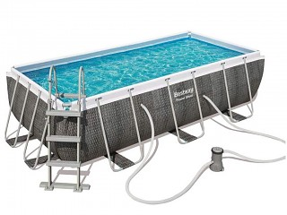 Bestway - Kit piscine tubulaire Bestway POWER STEEL rectangulaire 404x201x100cm aspect tresse gris