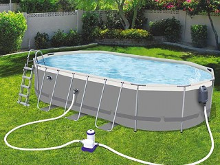 Bestway - Kit piscine tubulaire Bestway POWER STEEL Comfort Jet ovale 610x366x122cm filtration cartouche