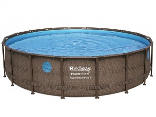Bestway - Kit piscine Bestway POWER STEEL SWIM VISTA ronde Ø549x122cm aspect rotin avec hublots