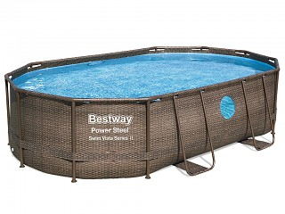 Bestway - Kit piscine Bestway POWER STEEL SWIM VISTA ovale 488x305x107cm avec hublots filtration sable
