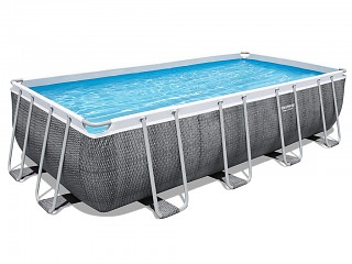 Bestway - Kit piscine hors-sol Bestway POWER STEEL rectangulaire 488x244x122cm motif rotin gris