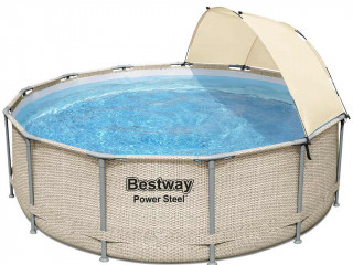 Bestway - Kit piscine tubulaire Bestway POWER STEEL FRAME POOL ronde Ø396 x 107cm avec auvent
