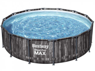 Bestway - Kit piscine Bestway STEEL PRO MAX ronde Ø427x107cm decor Bois filtration cartouche
