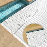 Volet automatique hors d'eau Abriblue BANC CLASSIC banc blanc lames PVC blanches pour piscine 6x12m sans escalier - Composition du kit complet volet automatique de sécurité hors d'eau Abriblue BANC CLASSIC