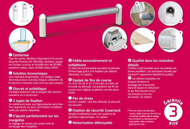 Volet automatique hors d'eau Abriblue OPEN CLASSIC coloris blanc pour piscine 3.5x7m sans escalier - Volet automatique hors d'eau Abriblue OPEN CLASSIC Esthétique, motorisé et de qualité