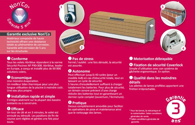 Volet automatique hors d'eau Abriblue BANC SOLAR ENERGY banc blanc lames PVC blanches pour piscine 3x7.5m sans escalier - Volet automatique hors d'eau Abriblue BANC SOLAR ENERGY Esthétique, motorisé et solaire
