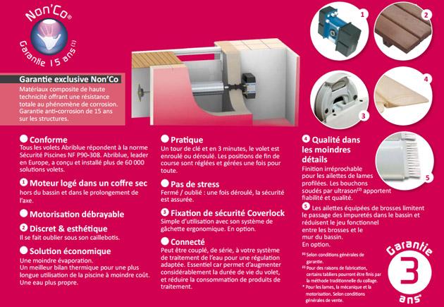 Volet automatique de securite immerge Abriblue IMM'BOX lames et caillebotis PVC blanc pour piscine 4x8m sans escalier - Volet automatique immergé Abriblue IMM'BOX Esthétisme et qualité de fabrication