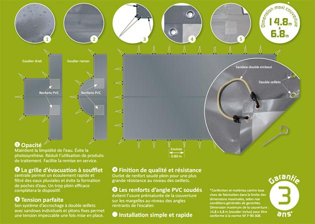 Couverture de securite souple Albiges SKIN FREEZE gris et gris geometrique piscine enterree (m²) - Albigès SKIN FREEZE Pour une protection optimale de votre bassin enterré