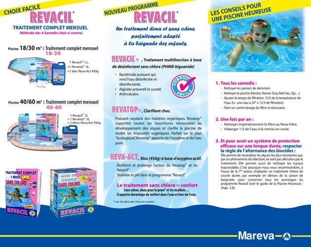 Traitement Mareva TCM REVACIL piscine de 30 a 60m³ de 2 mois ou 60 a 90m³ d'1 mois - TCM REVACIL un maximum de confort sans chlore