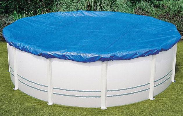 Couverture protection et hivernage SAFE POOL piscine hors-sol acier ronde Ø350/360cm - Couverture d'hivernage SAFE POOL Pour passer l'hiver sereinement