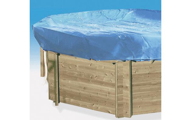 Couverture protection et hivernage SAFE POOL piscine hors-sol bois ronde Ø422cm - Couverture d'hivernage SAFE POOL Pour passer l'hiver sereinement