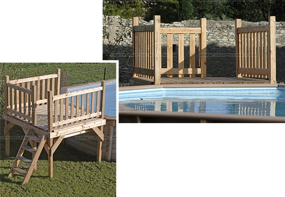 deck en bois oslo 2m x 2m pour piscine hors sol sur march. Black Bedroom Furniture Sets. Home Design Ideas