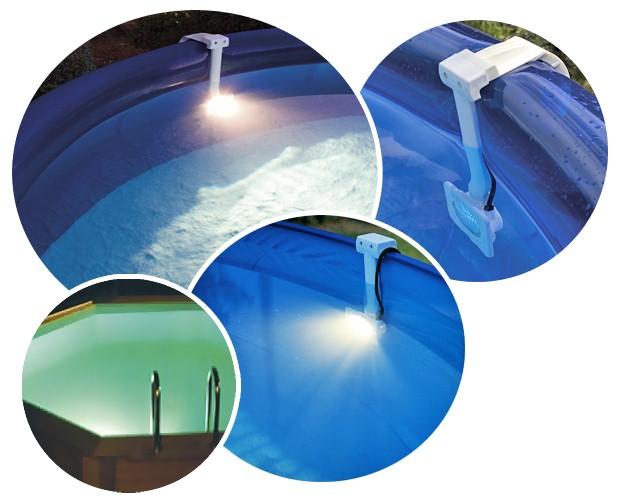 spot 5 couleurs dreampool 75w pour piscine hors sol sur march. Black Bedroom Furniture Sets. Home Design Ideas