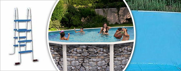 Kit piscine hors-sol acier Toi PIEDRA GRIS ovale 7.30 x 3.66 x 1.20m decor pierre - Piscine hors-sol Toi PIEDRA GRIS Plaisir et détente à chaque baignade
