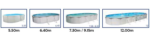 Kit piscine hors-sol acier Toi MAGNUM OVALADA ovale 9.15 x 4.57 x 1.32m laque blanc - Visuels des bassins hors-sol Toi en fonction de leurs dimensions