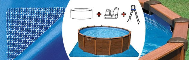 Kit Piscine Horssol Acier Intex SEQUOIA SPIRIT Ronde Aspect Bois - Piscine intex aspect bois