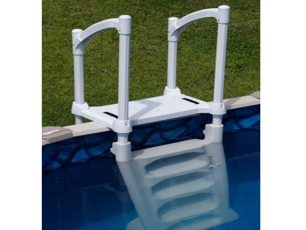 Echelle piscine hors-sol H8O symétrique 8 marches avec double sécurité  enfant