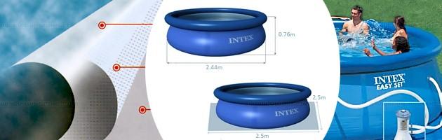 Piscine hors-sol autoportante Intex EASY SET ronde Ø244 x 76cm bleue - Piscine hors-sol Intex Intex EASY SET Plaisir et détente à chaque baignade