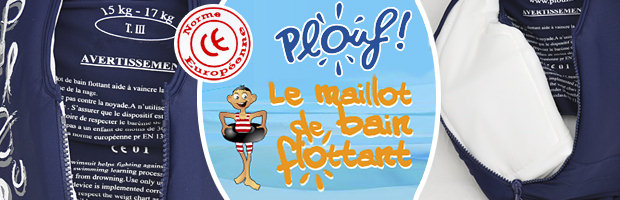 Maillot de bain flottant enfant PLOUF Venere Rouge/Gris garcon 4 ans (17/19kg) - Maillot de bain flottant enfant PLOUF la révolution de la Fibre Air®